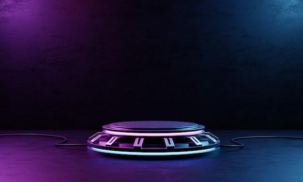 Cyberpunk product podium platform studio z niebieskim i fioletowym światłem reflektorów