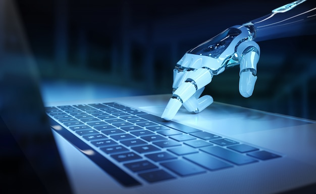 Cyborg ręka naciska klawiaturę na laptopie renderingu 3d
