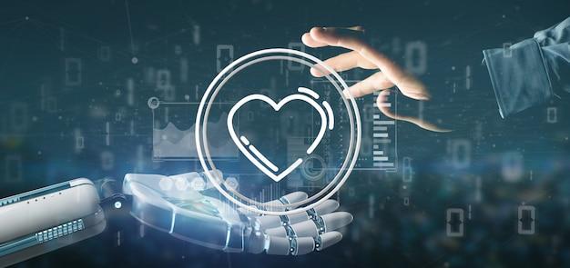 Cyborg ręka trzyma ikonę serca otoczony danymi