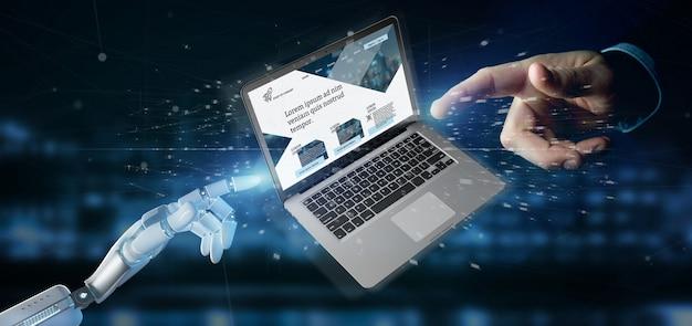 Cyborg ręka trzyma laptop z biznesowym strona internetowa szablonem na ekranie odizolowywającym