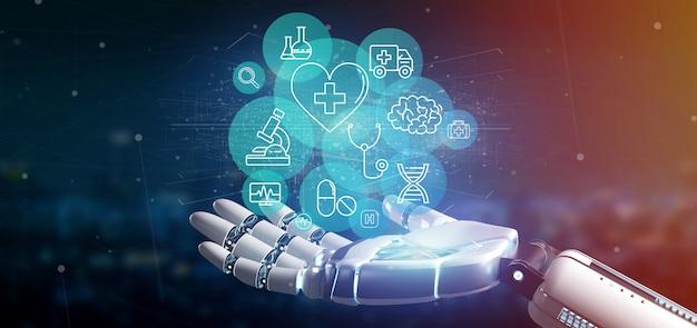 Cyborg ręka trzyma medyczną ikonę i związek