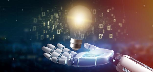 Cyborg ręka trzyma pomysł żarówki żarówki z danymi wokół renderowania 3d