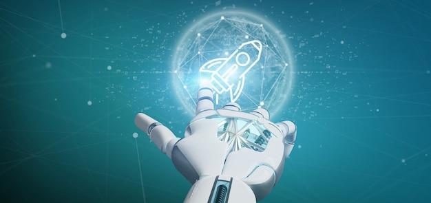 Cyborg ręka trzyma rakietę startową na kuli