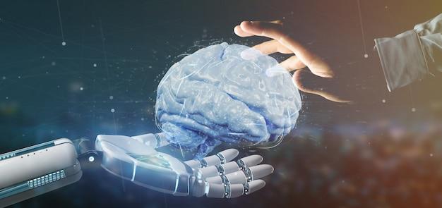 Cyborg ręka trzyma sztucznego renderowania 3d mózgu