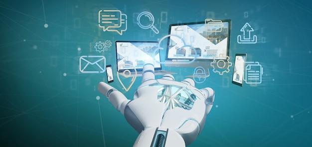 Cyborg ręka trzyma urządzenia podłączone do chmury sieci multimedialnej renderingu 3d