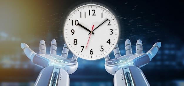 Cyborg ręka trzyma zegar 3d renderowania