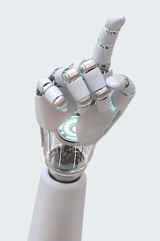 Cyborg ręka wskazująca 3d, technologia sztucznej inteligencji
