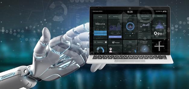 Cyborg ręki mienie laptop z biznesowymi interfejsów użytkownika dane na ekranie odizolowywającym