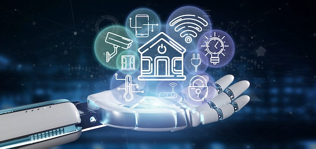 Cyborg trzyma inteligentny interfejs domu z ikoną, statystykami i renderowaniem danych 3d