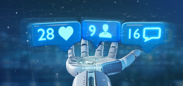 Cyborg trzymający rękę jak, podążający i powiadamianie o wiadomościach w sieci społecznościowej ing
