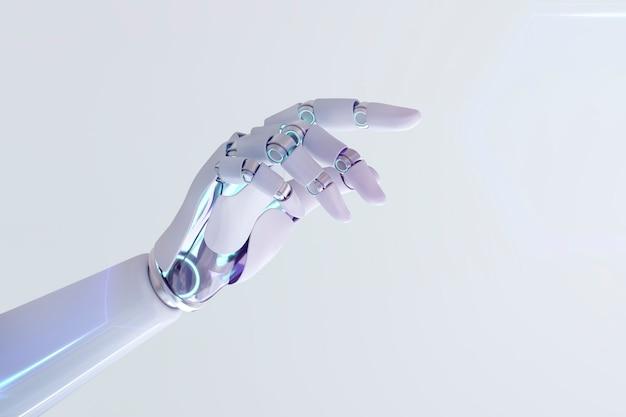 Cyborg wskazujący palcem dłoni, technologia sztucznej inteligencji