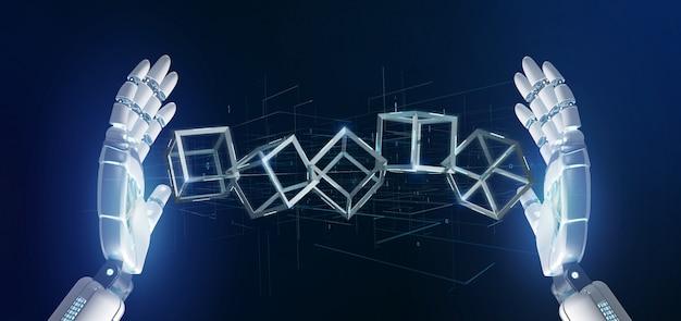 Cyborgowa ręka trzymająca kostkę blockchaina