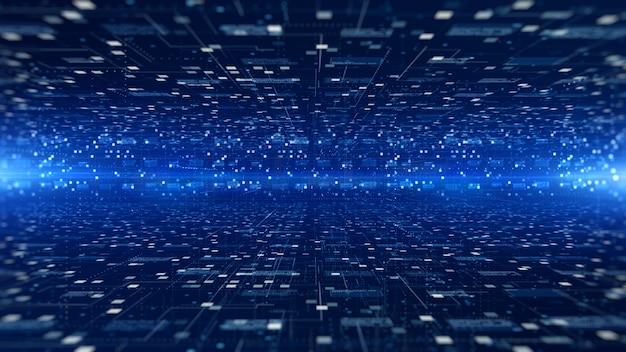 Cyfrowa cyberprzestrzeń futurystyczna, przepływ i oświetlenie cyfrowej macierzy danych, analiza danych o szybkim połączeniu procesowym abstrakcyjne tło.