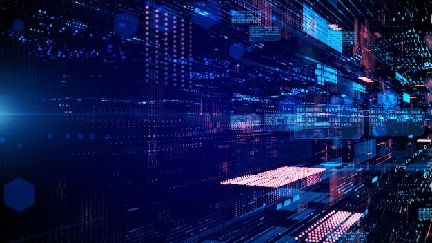 Cyfrowa cyberprzestrzeń i połączenia sieci danych