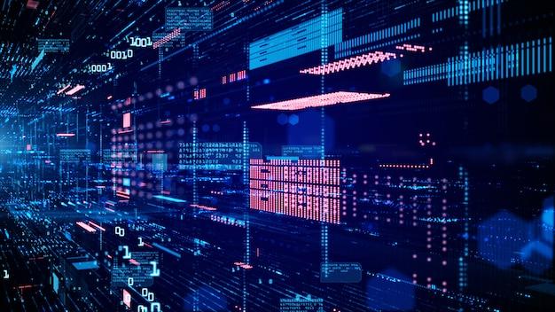 Cyfrowa cyberprzestrzeń i połączenia sieci danych.