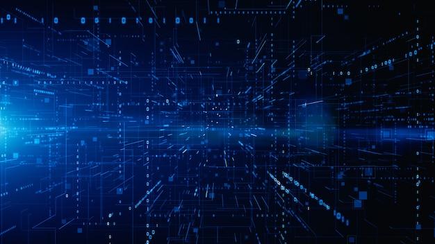 Cyfrowa cyberprzestrzeń z cząsteczkami i cyfrowymi połączeniami sieci danych