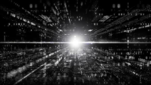 Cyfrowa cyberprzestrzeń z cząsteczkami i koncepcja cyfrowych połączeń do sieci danych. kolor czarno-biały