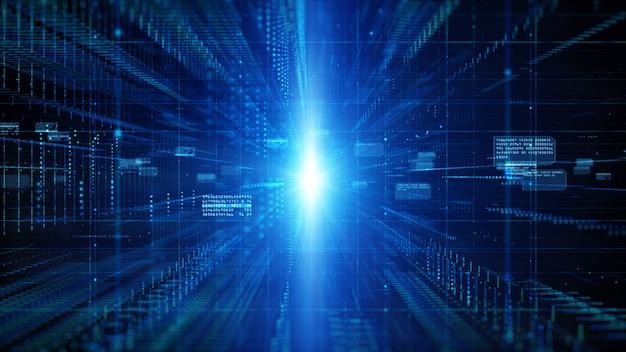 Cyfrowa cyberprzestrzeń z cząsteczkami i koncepcja tła połączeń sieci danych cyfrowych.