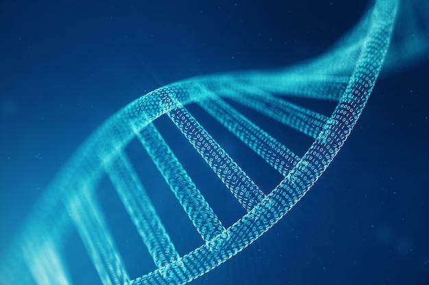Cyfrowa cząsteczka dna, struktura. pojęcie kod binarny ludzki genom. cząsteczka dna ze zmodyfikowanymi genami. ilustracja 3d