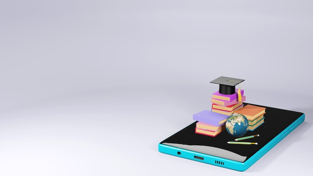 Cyfrowa edukacja online. 3d telefonu komórkowego, książki o nauce przez telefon, komputer. pojęcie dystansu społecznego. sieć internetowa classroom online.