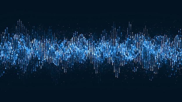 Cyfrowa fala cząstek muzyka i małe cząsteczki tańczą ruch na fali na tle cyfrowym.
