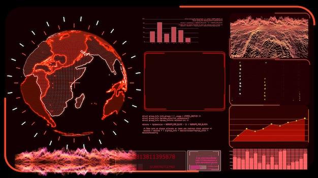Cyfrowa globalna mapa świata z czerwonym monitorem i program analizy rozwoju badań technologicznych