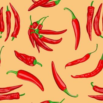 Cyfrowa ilustracja bezszwowego wzoru strąków czerwonego gorącego pieprzu cayenne na pomarańczowym tle