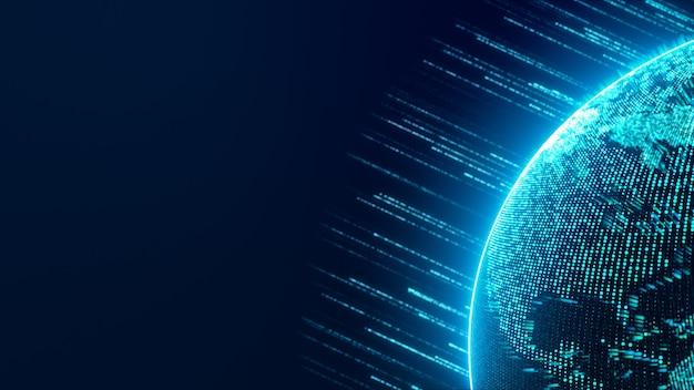 Cyfrowa kula ziemska w cyberprzestrzeni z przepływającym paskiem światła neonowego
