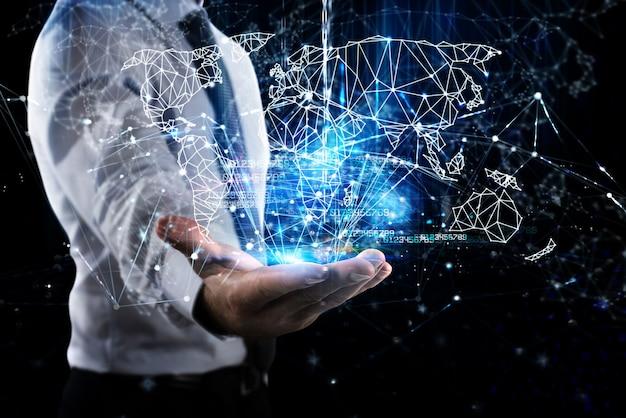 Cyfrowa mapa świata na dłoni człowieka biznesu