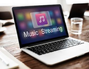 Cyfrowa muzyka Streaming Multimedia Rozrywka Online Concept