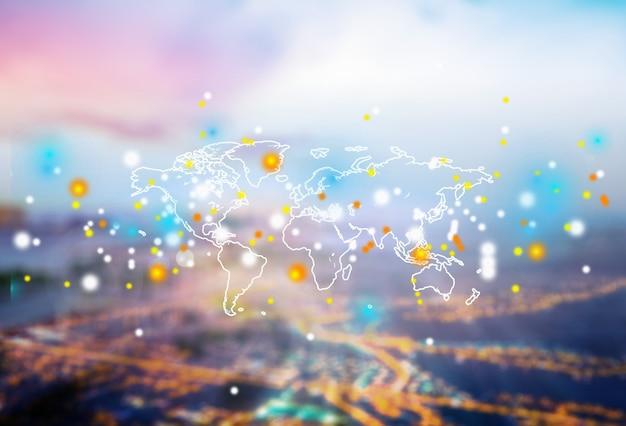 Cyfrowa świecąca mapa świata na rozmytym tle
