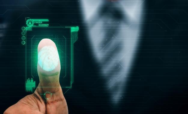 Cyfrowa technologia skanowania biometrycznego odcisków palców.