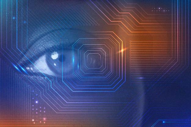 Cyfrowa transformacja biometrii z futurystycznym zremiksowanym mikroprocesorem