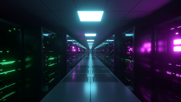 Cyfrowa transmisja danych do serwerów danych za szklanymi panelami w serwerowni centrum danych. szybkie linie cyfrowe. ilustracja 3d