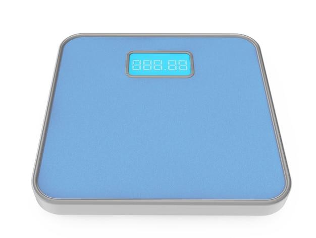 Cyfrowa waga łazienkowa na białym tle