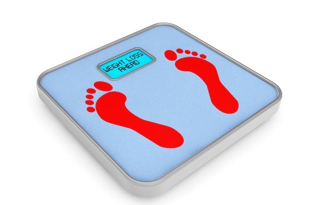 Cyfrowa waga łazienkowa ze znakiem utraty wagi na białym tle