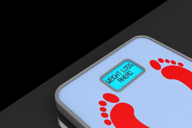 Cyfrowa waga łazienkowa ze znakiem utraty wagi na czarnym tle