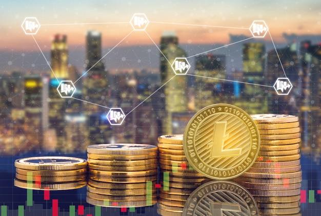 Cyfrowa waluta, handel monetami i koncepcja rynku giełdowego.