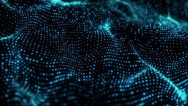 Cyfrowe neon świecące siatki faliste niebieskie blask punktów.