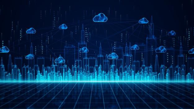 Cyfrowe przetwarzanie danych w mieście i w chmurze przy użyciu sztucznej inteligencji, analiza danych szybkiego połączenia 5 g. połączenia cyfrowej sieci danych i globalna komunikacja.
