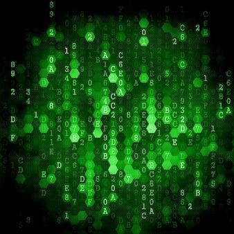 Cyfrowe tło. seria numery jasnozielonego koloru spada.