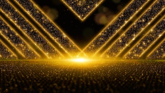 Cyfrowe złote cząsteczki płyną z kurzem i efektem bokeh