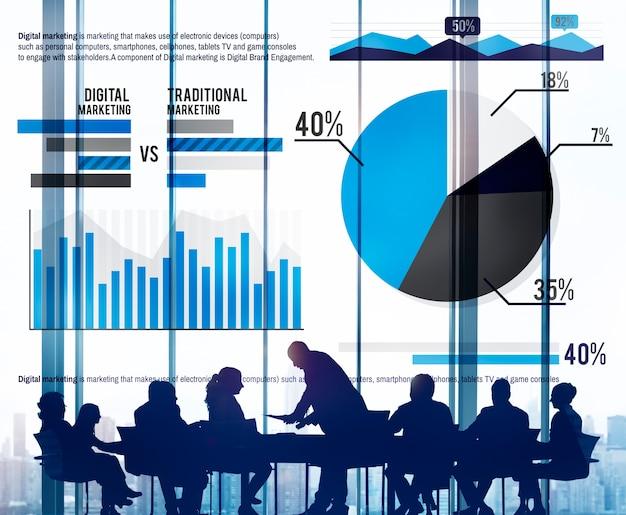 Cyfrowego marketingowego planowania strategii sukcesu wzrostowy pojęcie