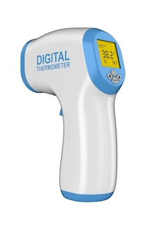 Cyfrowy bezkontaktowy termometr na podczerwień na białym tle. ilustracja 3d