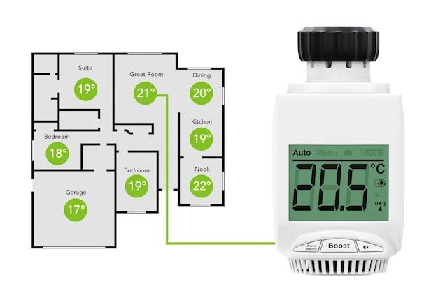Cyfrowy bezprzewodowy termostatyczny zawór grzejnikowy jako system kontroli klimatu z samolotem domowym na białym tle. renderowanie 3d.
