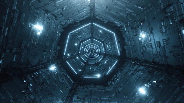 Cyfrowy futurystyczny tunel neon streszczenie