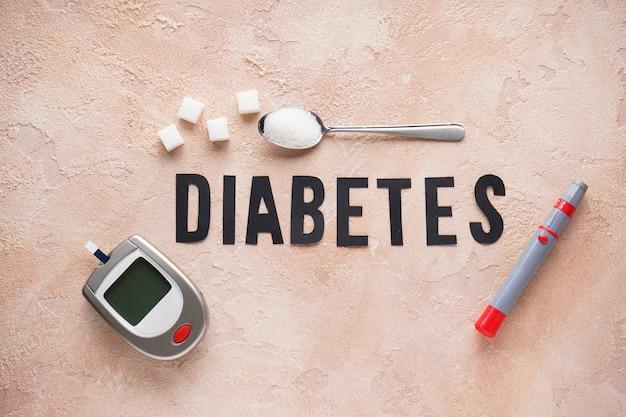 Cyfrowy glukometr, lancet i cukier
