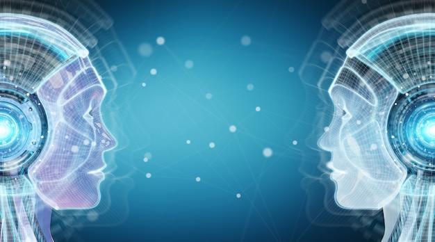 Cyfrowy interfejs sztucznej inteligencji cyborg renderowania 3d