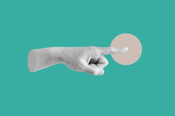 Cyfrowy kolaż sztuka współczesna dłoń wskazujący palec