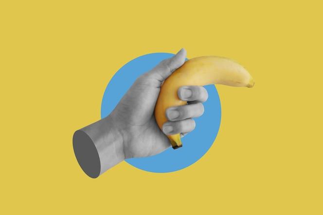 Cyfrowy kolaż sztuka współczesna ręka trzymająca banana